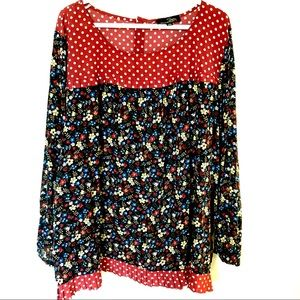 Suzanne Betro flowy peasant floral dot blouse 3X